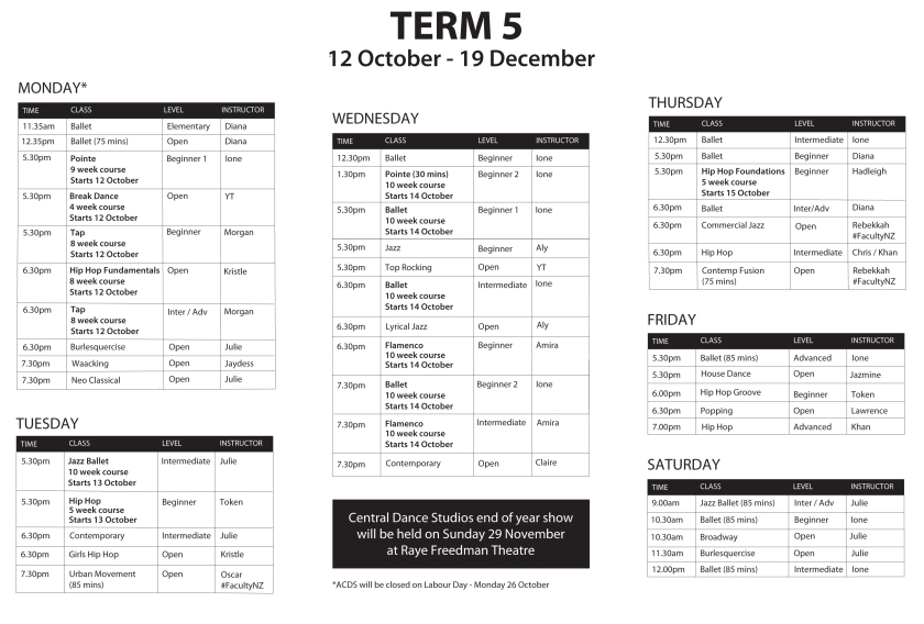 Timetable-TERM5-12October
